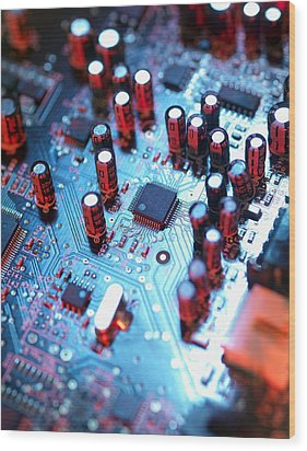 Circuit Board Wood Print by Tek Image