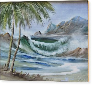 1132b Waterwave Scene Wood Print by Wilma Manhardt