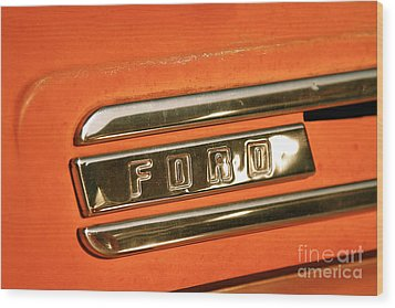 Rusted Antique Ford Car Brand Ornament Wood Print by ELITE IMAGE photography By Chad McDermott