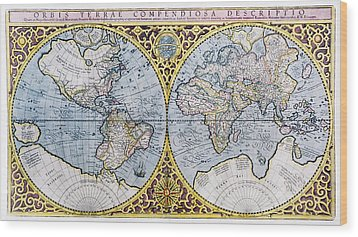 16th Century World Map Wood Print by Georgette Douwma