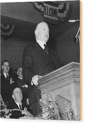 Former President Herbert Hoover Wood Print by Everett