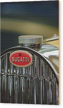 1935 Bugatti Type 57 Grand Raid Roadster Emblem Wood Print by Jill Reger