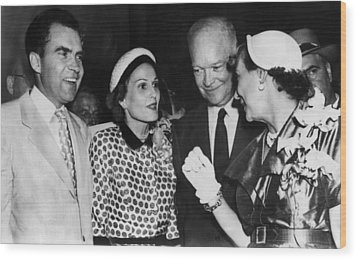 1952 Presidential Campaign. From Left Wood Print by Everett