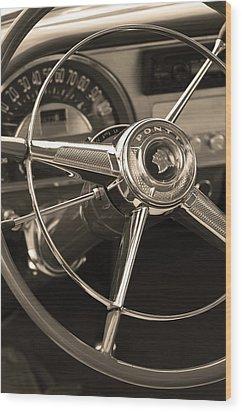 1953 Pontiac Steering Wheel - Sepia Wood Print by Jill Reger