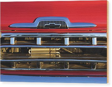 1957 Chevrolet Pickup Truck Grille Emblem Wood Print by Jill Reger