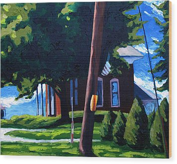 19th C. Corner Brick Wood Print by Charlie Spear