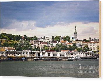 Belgrade Cityscape On Danube Wood Print by Elena Elisseeva