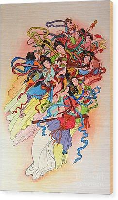 Chinese Painting  Wood Print by Phalakon Jaisangat