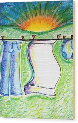Laundry Day Wood Print by Susan George