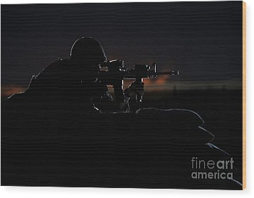 Partially Silhouetted U.s. Marine Wood Print by Terry Moore