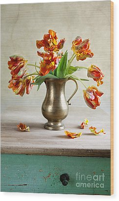 Still Life With Tulips Wood Print by Nailia Schwarz