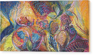 The Flowers And Fruits Wood Print by Elena Kotliarker