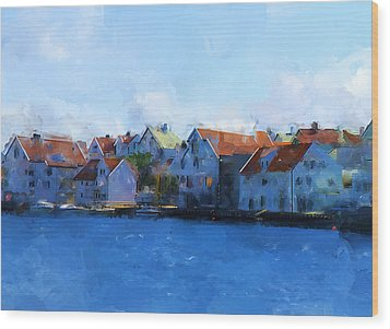 Haugesund Harbour Wood Print by Michael Greenaway