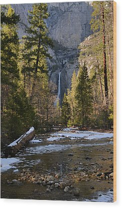 Lower Yosemite Falls Wood Print by Stephen  Vecchiotti