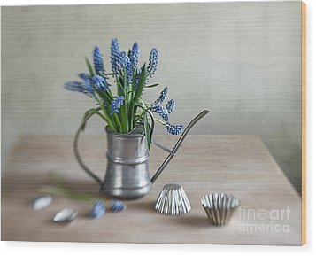 Still Life With Grape Hyacinths Wood Print by Nailia Schwarz