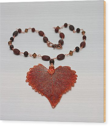 3610 Iridescent Copper Plated Cottonwood Leaf Pendant Necklace Wood Print by Teresa Mucha