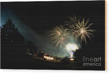 Fireworks Wood Print by Angel  Tarantella