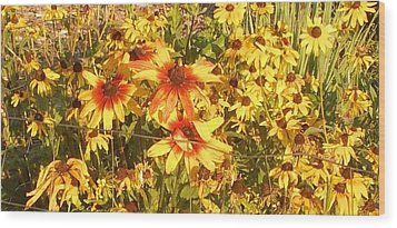 Garden  Flowers  Wood Print by Thelma Harcum