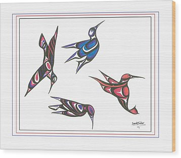 4 Hummingbirds Wood Print by Speakthunder Berry