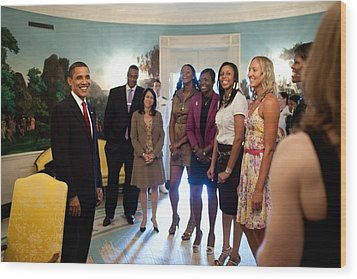 President Barack Obama Meets Wood Print by Everett