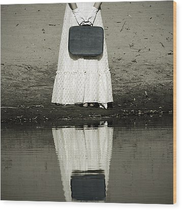 Woman With Suitcase Wood Print by Joana Kruse