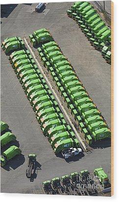 Garbage Truck Fleet Wood Print by Don Mason