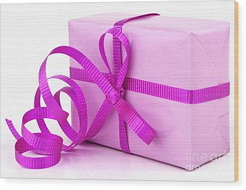 Pink Gift Wood Print by Blink Images
