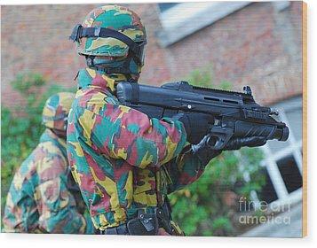 A Belgian Paratrooper  Handling The Fn Wood Print by Luc De Jaeger