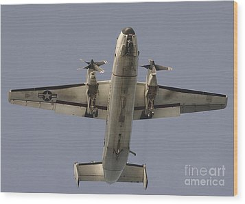 A C-2 Greyhound In Flight Wood Print by Stocktrek Images