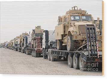 A Convoy Of Mine-resistant Ambush Wood Print by Stocktrek Images