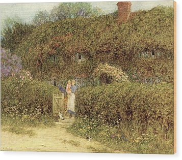 A Cottage At Freshwater Isle Of Wight Wood Print by Helen Allingham