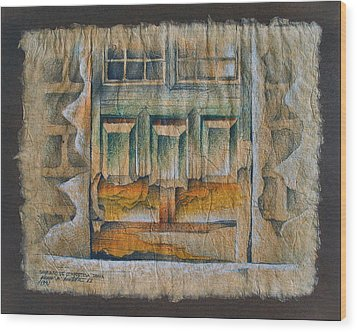 A Door In Compostela1982 Wood Print by Glenn Bautista