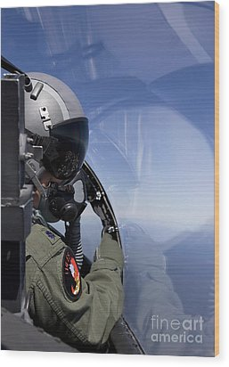 A F-15 Pilot Looks Over At His Wingman Wood Print by HIGH-G Productions