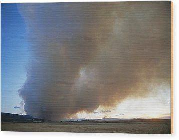 A Forest Fire Burns In The Gallatin Wood Print by Gordon Wiltsie