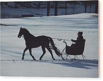 A Horse-drawn Sleigh Ride At Twilight Wood Print by Ira Block