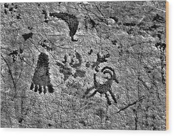 A Library Of Petroglyphs - Atlatl Rock Wood Print by Christine Till