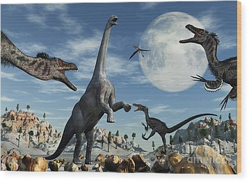 A Lone Camarasaurus Dinosaur Wood Print by Mark Stevenson