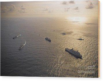 A Multi-national Naval Force Navigates Wood Print by Stocktrek Images