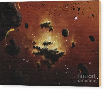 A Nebula Evaporates In The Far Distance Wood Print by Brian Christensen