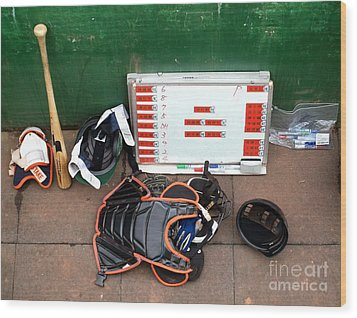 A Peak Into The Dugout During A Baseball Game Wood Print by Yali Shi
