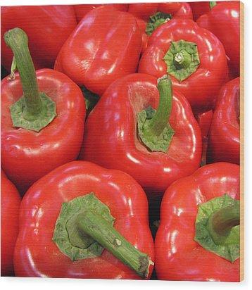 A Peck Of Red Peppers Wood Print by Kathy Clark