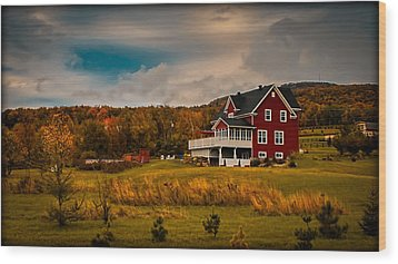 A Red Farmhouse In A Fallscape Wood Print by Chantal PhotoPix