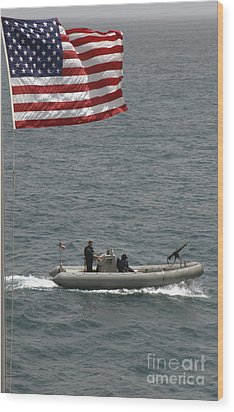 A Rigid Hull Inflatable Boat Wood Print by Stocktrek Images