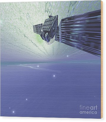 A Satellite Out In The Vast Beautiful Wood Print by Corey Ford
