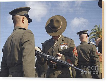 A Senior Drill Instructor Inspects Wood Print by Stocktrek Images