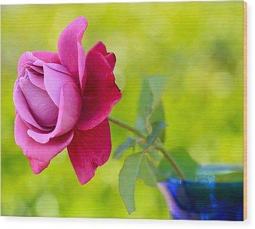 A Single Rose Wood Print by Heidi Smith