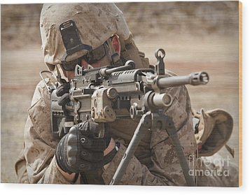 A Squad Automatic Weapon Gunner Wood Print by Stocktrek Images