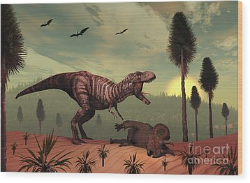 A Triceratops Falls Victim Wood Print by Mark Stevenson
