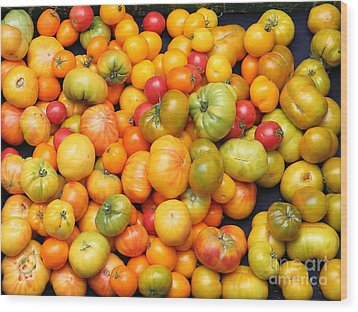 A Variety Of Fresh Tomatoes - 5d17904 Wood Print by Wingsdomain Art and Photography