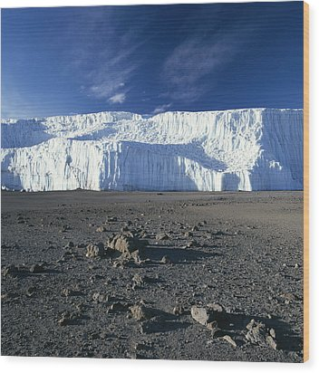 A View Of Mount Kilimanjaros Summit Wood Print by David Pluth